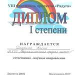 Диплом 1 место Шадрина Алена