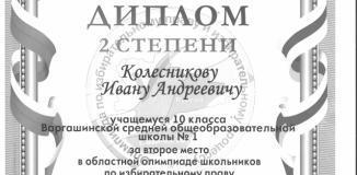 Колесников Иван, учащийся 10 класса, занял 2 место в областной олимпиаде по избирательному праву